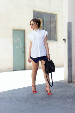 navy navy mini daily look skirt - white oversized Zara shirt