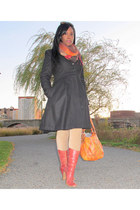 orange Jessica Simpson bag - maroon Wetseal boots - black H&M coat