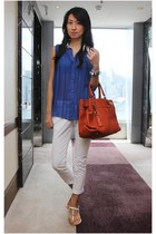 blue Mood & Closet top - burnt orange satchel leather Salvatore Ferragamo bag