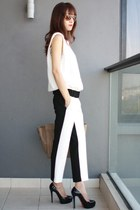 black Zara pants - camel Celine bag - white Zara top