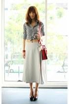 black gingham Guess top - ruby red Miu Miu bag - off white asos skirt