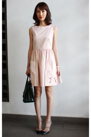 light pink Valentino dress - Yves Saint Laurent bag - Valentino heels