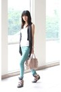 Teal-forever-21-jeans-neutral-prada-bag-gray-random-vest-white-topshop-top