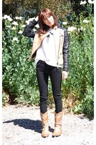 camel Zara jacket - black 7 for all mankind jeans - white Mood & Closet top