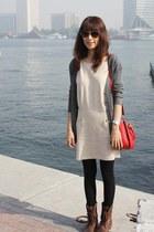 beige Mood & Closet dress - dark brown Steve Madden boots - red Miu Miu bag