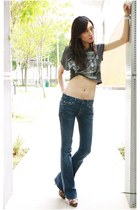 charcoal gray cropped Forever 21 top - navy bell bottom 7 for all mankind jeans