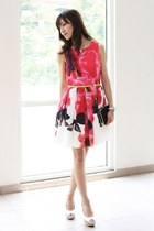 hot pink Mood & Closet dress - black Mood & Closet bag - ivory Aldo heels