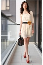 neutral chiffon Mood & Closet dress - black sequins leather Furla bag
