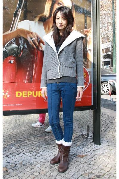 dark brown Gap boots - blue Mood & Closet jeans - heather gray Zara sweater