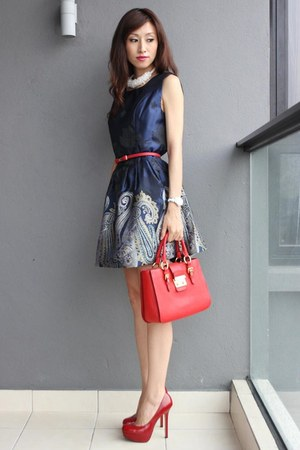 red Miu Miu bag - navy Mood & Closet dress - white sismade necklace