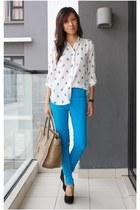 sky blue Forever 21 jeans - camel Celine bag - ivory Zara top