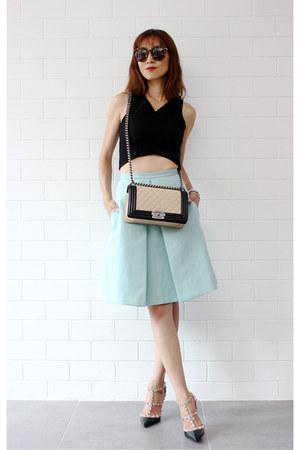 Tibi skirt - Chanel bag - Karen Walker sunglasses - Valentino heels