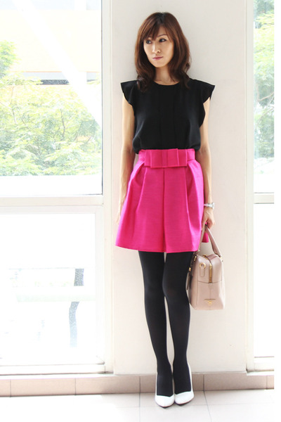 hot pink fall pink KTR Collection skirt - light pink Prada bag