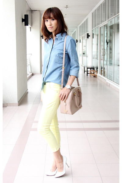 light pink Prada bag - light yellow spring skinny Mood & Closet jeans