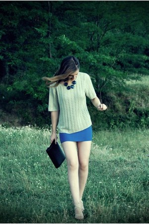 blue handmade skirt - eggshell new look sweater