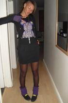 black Marks and Spencers stockings - black RT MR PRICE skirt - purple gloves - b