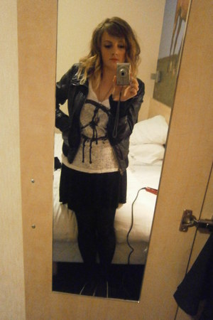 black Topshop jacket - H&M top - Primark skirt - necklace