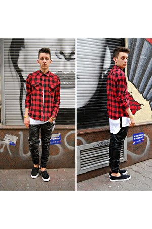 black leather Zara pants - red plaid New Yorker shirt