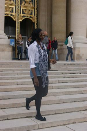 shirt H&M shirt - dont remember scarf - laced up shorts romwe shorts - tesco fla