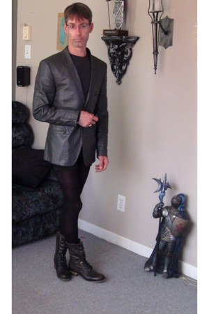 Aldo boots - Designer jacket blazer - tights - shorts