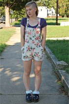 light pink floral Thrifted  DIY romper - black doc martens flats