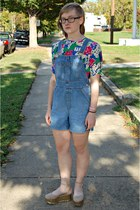 pink thrifted blouse - sky blue thrifted romper