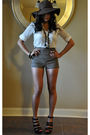 white BDG shirt - black Aldo shoes - brown Bebe hat