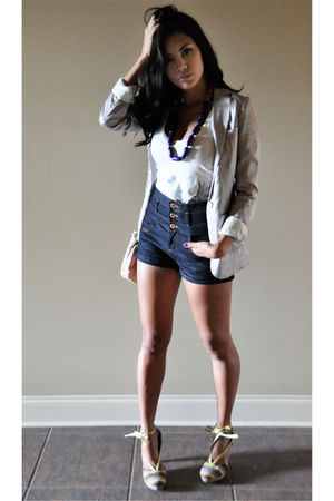 purple H&amp;M blazer - blue Topshop shorts - white French Connection top - purple F