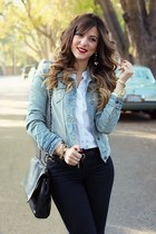 white Topshop shirt - black Zara jeans - sky blue abercrombie and fitch jacket