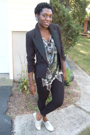 Zara blazer - vintage sequence blouse - H&M leggings - Steve Madden gray oxfords
