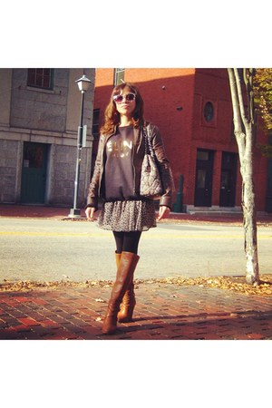 brown BCBG boots - brown Bebe jacket - black black tights Forever 21 tights