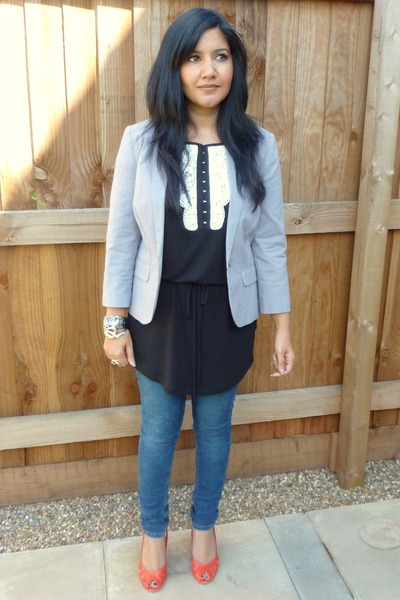 black H&M dress - gray Topshop blazer - blue Topshop jeans - red Topshop shoes -