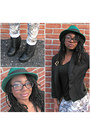 Green-thrifted-hat-yellow-arden-b-jeans-black-express-blazer