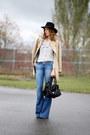 Zara-coat-paige-jeans-sandro-bag-reiss-blouse