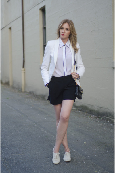 pink tartan blouse - Zara blazer - Aritzia shorts