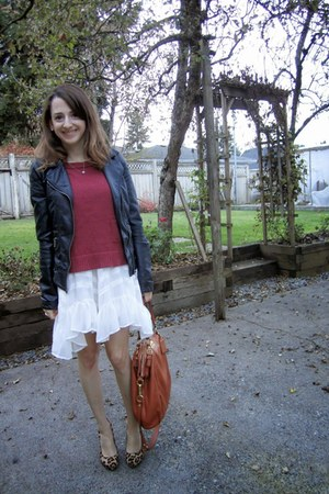 black Zara jacket - white Billabong dress - coral H&M sweater - orange coach bag