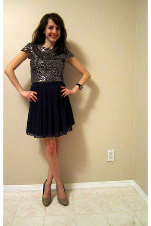 silver worn as a top LuLus dress - deep purple Dynamite skirt