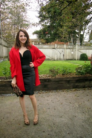 red Topshop jacket - black Aldo bag - black Nasty Gal top - black Aldo heels