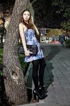 black Zara boots - blue Victorias Secret dress - black Moschino bag