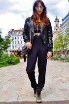 brown Kurt Geiger boots - black leather DKNY jacket - black vintage Chanel bag