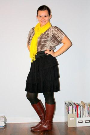 boots - skirt - shirt - scarf