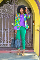 nude Giuseppe Zanotti wedges - chartreuse Skinny jeans - yellow floral blazer