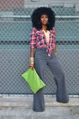 Chartreuse-american-apparel-purse-red-plaid-hollister-shirt