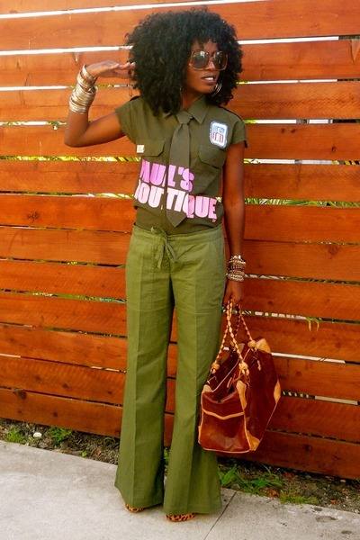 green pauls boutique shirt - green Urban Outfitters pants - brown Leopard Pumps