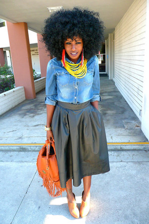 blue denim shirt - tawny Rachel Zoe bag - black H&amp;M skirt