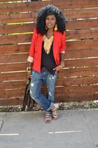 blue boyfriend jeans - red Zara blazer - black linen top - beige strappy flats