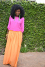 Bubble-gum-silk-blouse-orange-flowy-maxi-skirt-chartreuse-lindalu-earrings
