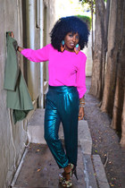 hot pink Zara blouse - teal American Apparel pants
