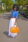 Blue-denim-paul-joe-shirt-white-maxi-eyelet-skirt