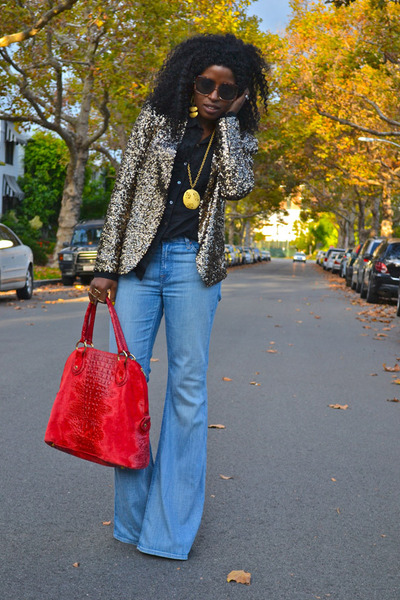 gold glitter-sequin Zara blazer - light blue bell bottoms Seven7 jeans